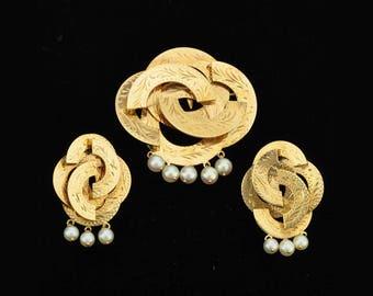 Vintage Mexican Gold Earrings Brooch Demi Parure Oaxaca 14K Pearls