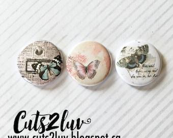 """3 buttons 1 """"vintage butterflies"""