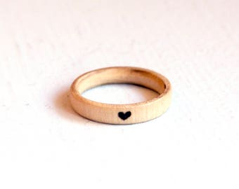 Tiny Heart Ring, Wooden Ring, Stacking Ring, Wood Burned Ring, Pyrography, Wood Ring, Small Heart Ring, Small Heart Jewelry, Wood Jewelry