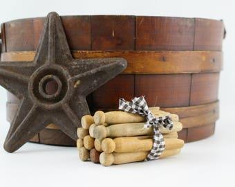 Vintage Wooden Clothespin Bundle of 12, Bundle of 12 Wood Clothespins, Laundry Wood Clothes Pegs, Rustic Primitive Decor, Doll Craft Supply