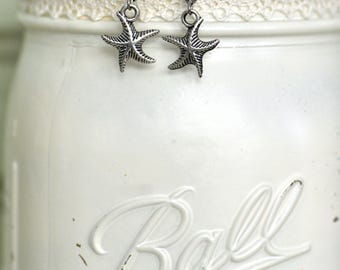 Silver Starfish Earrings- Starfish Dangle Earrings- Starfish- Nautical Earrings- Nautical Jewelry- Beach Earrings- Gift for Her