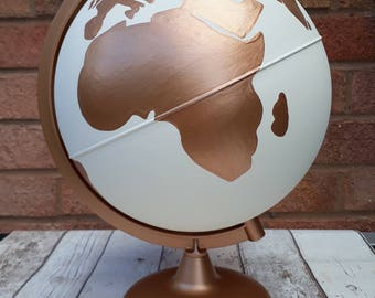 """Hand Painted White and Copper Globe 