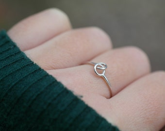 Knot ring sterling silver ring minimalist jewelry linked ring stacking ring love ring friendship ring chain ring knotted ring - amejewels