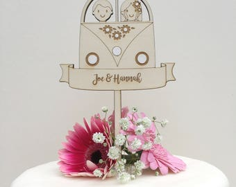Camper van wedding cake topper - Personalised - wooden topper - boho wedding - hipster topper - rustic topper
