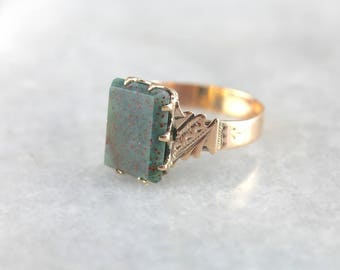 Antique Bloodstone Ring in Victorian Rose Gold, Victorian Bloodstone Ring, Antique Bloodstone Ring, Victorian Ring LAV48W-R