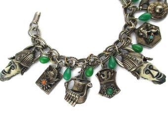 Selro Vikings Charm Bracelet/ Selini African  Faces / Selro Corp White Africans Faux Jade/Athena Greek Helmet Charm /Viking Ship