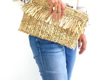 Clutch Fringe Handbag, Beach Purse Tassel, Ibiza Clutch, Boho Bag, Straw Clutch Bag Natural