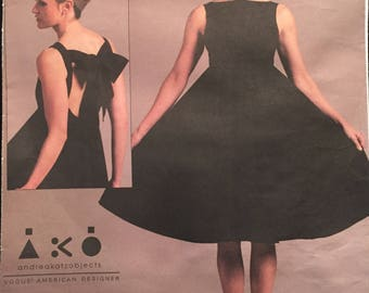 Vogue American Designer Andrea Katz Black Tie, Twirl, Flare, Sleeveless Dress w Bateau Neck, Back Bow and Open Back Size 14-20 Pattern V1102