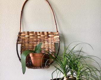 Unique Large Vintage Rattan Wall Hanging Pocket Basket / Wicker Wall Hanging Shelf Basket with Handle