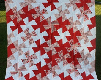Twin Quilt Twister Pattern red white pink prints
