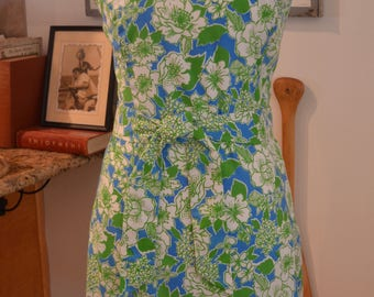 Vintage The Sporting Tailors green blue floral shift dress belt S / M small medium preppy summer