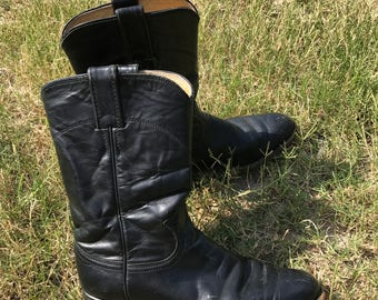 Black Leather Justin Boots