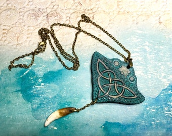 Antique looking tooled leather Manta ray pendant with Celtic ornament - Handmade tribal pendant with wolf fang