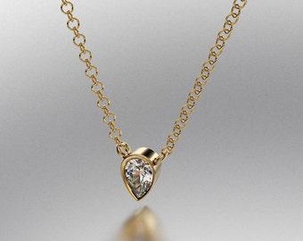 14k Gold classics Pendant Pear Diamond 0.15 TW