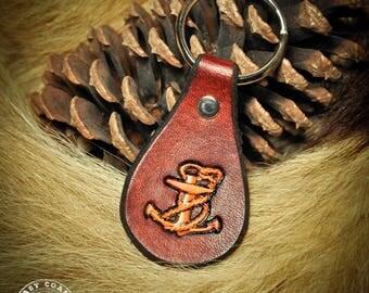 Leather Keychain fob - Nautical Anchor