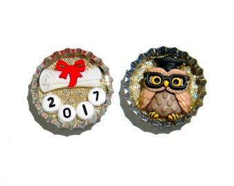 NEW Graduation Owl Bottle Cap Magnets
