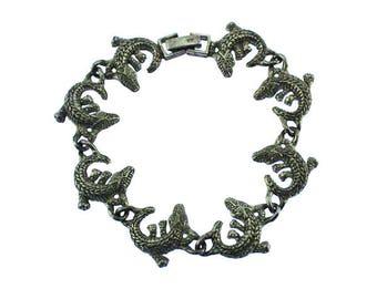 Silver Alligator Bracelet, Silver Alligator Link, Silver Link Bracelet, Silver Bracelet