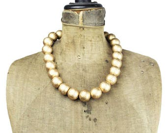 Vintage Gold Bead Necklace, Chunky Gold Bead Necklace, Gold Beaded Necklace, Chunky Gold Necklace