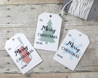 Merry Christmas Gift Tags Set of 12 - Holiday Tags with Christmas Tree - Present Labels - Hang Tags - Happy Holidays - To and From Tags