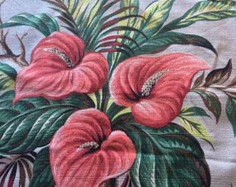"""Vintage 1940s Tropical Cotton Barkcloth Fabric- 2 Pcs // 20x23.5"""", 16x22"""" > red, gray tropical anthurium flowers- red calla lily > exotic"""