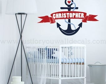 Nursery Wall Decal, Wall Decals Nursery, Personalized Monogram, Nautical Wall Decal, Nursery Wall Art, Nursery Wall Decals, Wall Art 02-0010