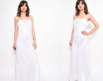 Vintage 90's Glossy White Strappy Maxi Dress - Size Large
