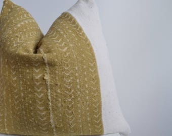 SALE: Authentic African Mud Cloth Yellow/Gold & White Pillow Cover
