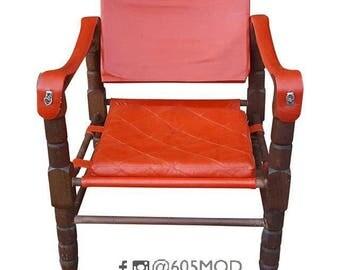 red leather sling safari chair arne norell safari sirocco style spanish