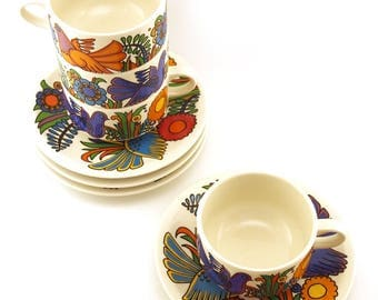 Villeroy & Boch, Acapulco pattern, 4 coffee / tea cups and saucers. (80s edition) Retro homeware