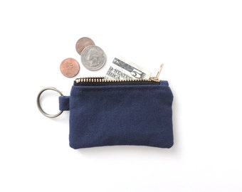 Canvas Keychain Coin Purse Blue