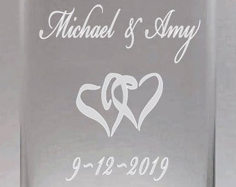 Personalized Custom Cylinder Glass Clear Vase, 7.5 inch Etched Vase, Wedding Gift, Bride and Groom Gifts, Anniversary Gift,  Mr and Mrs Gift