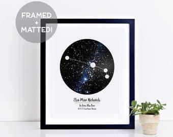 Custom Framed Zodiac Sign & Night Sky Print, Astrology Print, Birthday Gift, New Baby Gift, Gift for Her, Constellation Print, Framed Art