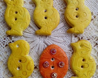 Set of 6 easter themed buttons, yellow chick buttons, easter egg button, handmade buttons, unique buttons, spring buttons, yellow, orange