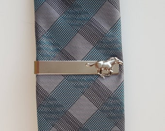 Silver Horse Tie Clip, Tie Bar, Race Horse, Kentucky Derby, The Preakness, Wedding, Groom, Horseman, Men, Father's Day, Belmont Stakes