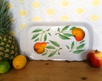Vintage Ceramic Tray . Ceramic Dish . Italian Ceramic Tray . Hand Painted Apples and Pairs Serving Plate . Serving Platter . Vintage Kitchen