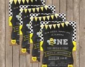 Honey Bee Birthday Invitation - Honey Bee Themed Birthday Invitations - Baby Bumble Bee Birthday - Baby Honey Bee Birthday Invitation - Bees