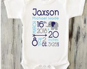 Personalized clothing for babies and kids by shoppicadilly on etsy baby boy birth announcement onesie elephant baby boy birth stats onesie personalized newborn baby boy gift negle Images