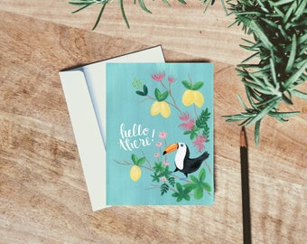 Hello There Toucan - Greeting Card - Single folded card - Just Because card - Stationery