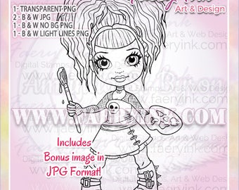 Goth Girl Gothic Artist UNCOLORED Digital Stamp Image Adult Coloring Page jpeg png jpg Fantasy Craft Cardmaking Papercrafting DIY