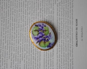 Antique Porcelain Cameo - 1900s Handpainted Cameo, Purple Iris Still Life