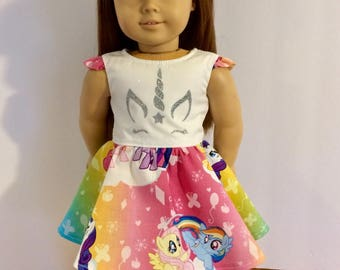 "My little pony doll dress. 18"" doll dress. American girl doll dress. Unicorn decal."