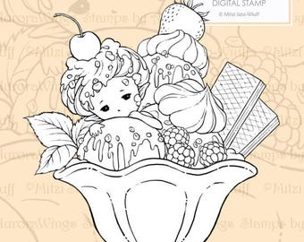 PNG Digital Stamp - Ice Cream Sundae Sprite - Instant Download - digistamp - Fantasy Line Art for Cards & Crafts by Mitzi Sato-Wiuff