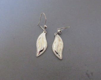 Vintage Sterling Silver Earrings, Leaves, Hallmarked Mexico 925, Collectible Jewelry