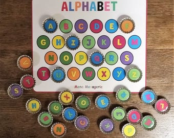 Match and Learn Colorful Alphabet Letters on Silver Bottle Caps Magnetic