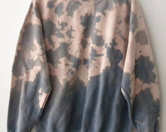 Blue Tie dye Sweatshirt, Pink Acid wash sweatshirt, Pink dip dye crewneck sweatshirt, Grunge, sweater, jumper, hipster, boho, Rocker, gray