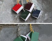 Tiny paper book jewelry, necklace/earrings -- Your choice of book and metal color