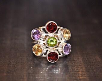 Handmade Sterling Silver Multi Gemstone Artisan Ring 7.5  Jewelry