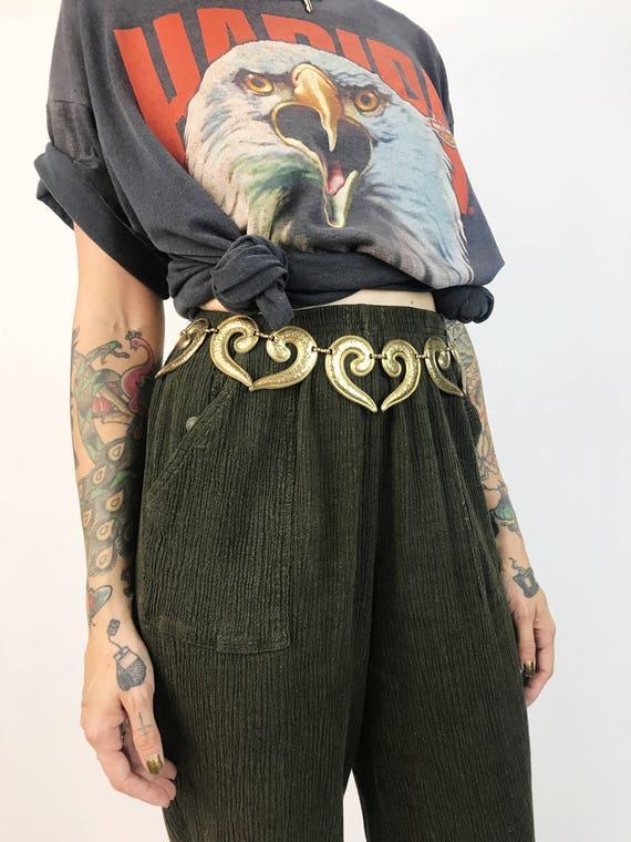 80's Womens Chain Belt - Copper Brassy Tone Statement Chain Belt - Glam Adjustable Link Belt - Gold Tone Vintage Artsy Chain Belt Medium
