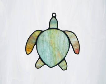 Stained Glass Mini Sea Turtle IMMEDIATE SHIPPING