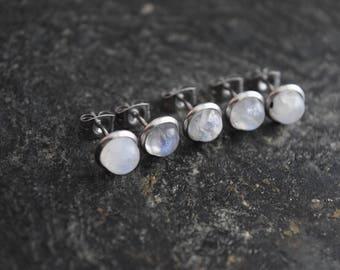 Moonstone (1 Pair) Real Stone Bezel Set Stud 316L Surgical Steel Post Piercings Cartilage Lobe Jewelry Earrings